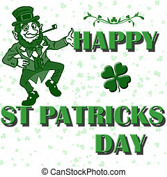 happy St Patricks day greeting with drop shadow text and...
