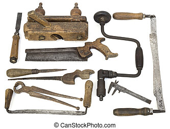 Old Carpenter Tools on White Background