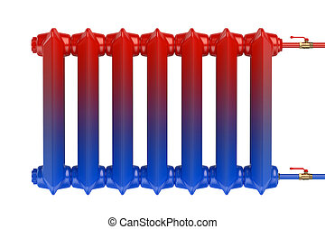 Distribution of heat flow in the cast iron heating radiator...