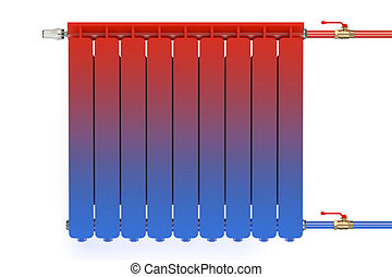 Distribution of heat flow in the radiator isolated on white...