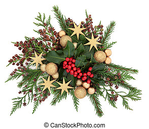 Christmas Decorative Display - Christmas flora with gold...