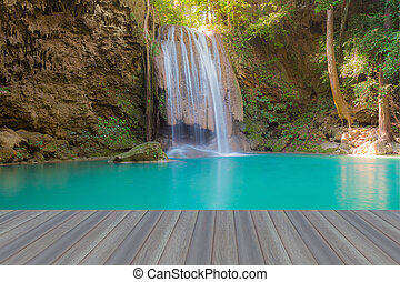 Deep forest water falls in national park of Thailand on...