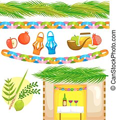 set for sukkot - set of elements related to Sukkot with...