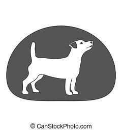 Dog logo design element. Pet shop logo. Raster illustration.