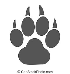 Paw print raster illustration - Simple icon of a tiger paw...
