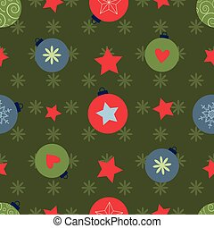 vector seamless pattern with colorful christmas balls