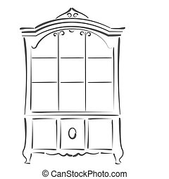Sketched vintage bookcase Design template for label, banner...