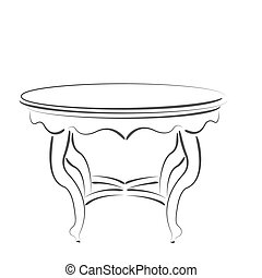 Sketched cafe table Design template for label, banner or...