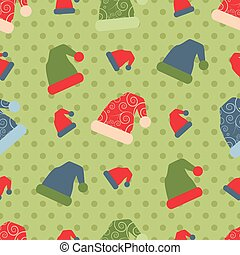 vector seamless christmas pattern with santa hats