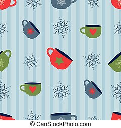 vector seamless christmas pattern with colorful cups