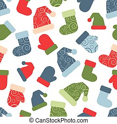 vector seamless christmas pattern with santa clothing