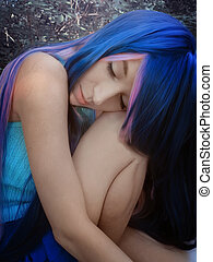 Fantasy girl with blue hair