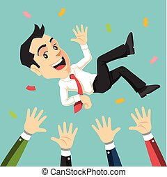 Businessman being thrown in the air Vector flat illustration...