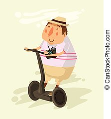 Tourist rides a Segway. Vector flat illustration