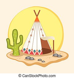 Indian wigwam Vector flat illustration