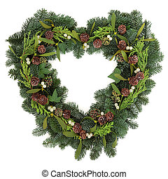 Heart Shaped Wreath - Christmas heart shaped wreath with...