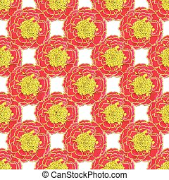 Marigold. Seamless pattern with flowers. Hand-drawn...