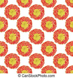 Marigold Seamless pattern with flowers Hand-drawn background...
