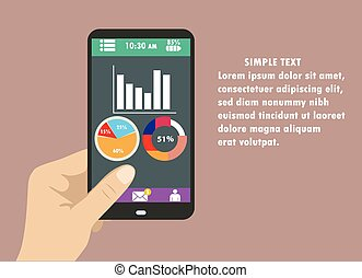 mart phone with graphs