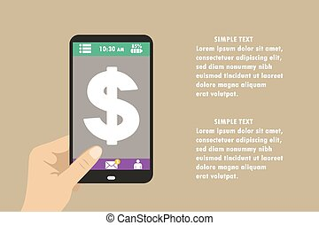 smartphone with dollar sign on the screen