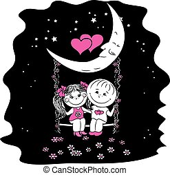 Love couple sitting at night on a swing attached to the moon