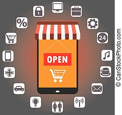 Smartphone - shop in style flat with icons