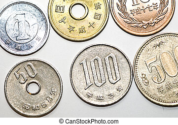 Yen - close up of coins of the japanese currency