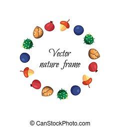 Vintage nuts, berry, fruits frame - Vintage fruits frame...
