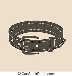 Dog collar - Vintage brown dog collar with a buckle
