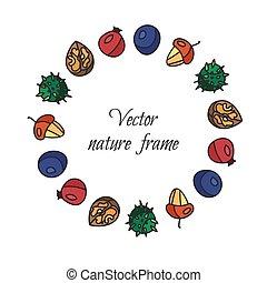 Vintage nuts, berry, fruits frame