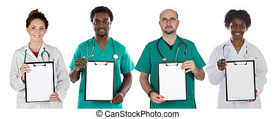 Medical team with clipboard in blank isolated on white...