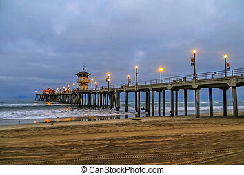 Huntington Beach Pier - Dawn at Huntington Beach Pier -...