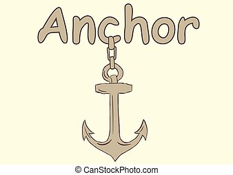 Sketch anchors - The sketch of a brown anchor on an...