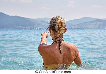 attersee, il bagnarsi, lago, ragazza, giovane