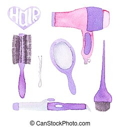 Hairstyling set. Hand-drawn tools. Real watercolor drawing....