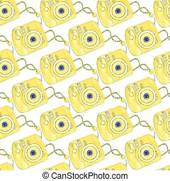 Instant photo camera Seamless pattern with cameras...