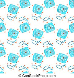 Instant photo camera. Seamless pattern with cameras....