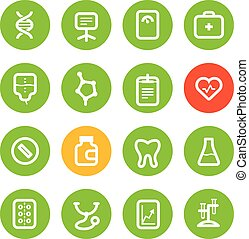 Different vertical healthcare color icons set isolated on white. Flat design elements