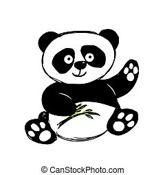 Little  cute panda  isolated on white, hand drawing, vector