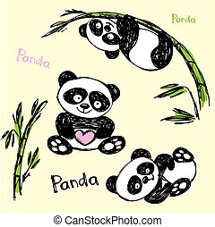 Cute Panda in different poses, hand drawing