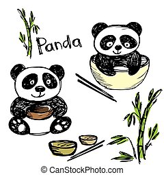 Cute panda eating ,bamboo, chopsticks, hand drawing, vector