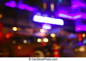 Blurred night colorful lights in Miami Beach - Blurred night...