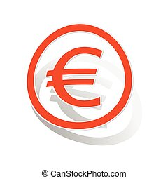 Euro sign sticker, orange circle with image inside, on white...