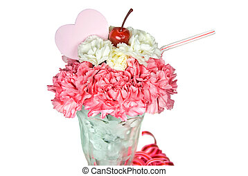 Sweet Sip - Pink heart in carnation sundae on white.
