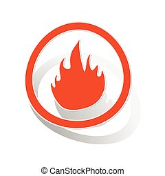 Fire sign sticker, orange circle with image inside, on white...