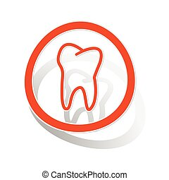 Tooth sign sticker, orange circle with image inside, on...