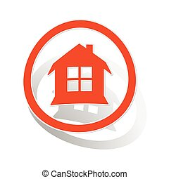 House sign sticker, orange circle with image inside, on...