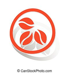 Coffee sign sticker, orange circle with image inside, on...