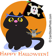 Halloween Cat with Pirate Skull Flag and Bat - Here is a...
