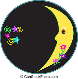 Circular Frame of a Glowing Moon, Spirals, Flowers and Star...